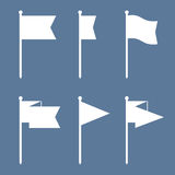 Flag Pin Vector Flat Icon Set. Set of flag pin vector icons flat design. Red flag pin icon in flat style with long shadow. Collection of flag pin flat icon Royalty Free Stock Photos