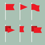 Flag Pin Vector Flat Icon Set. Set of flag pin vector icons flat design. Red flag pin icon in flat style with long shadow. Collection of flag pin flat icon Stock Photo