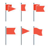 Flag Pin Vector Flat Icon Set. Set of flag pin vector icons flat design. Red flag pin icon in flat style with long shadow. Collection of flag pin flat icon Stock Images