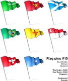 Flag pins #10. This is an illustration of nine flag pins Royalty Free Stock Photo