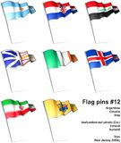 Flag pins #12. This is an illustration of nine flag pins Stock Photo