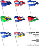 Flag pins #13. This is an illustration of nine flag pins Stock Image
