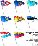Flag pins #19. This is an illustration of nine flag pins Stock Photos