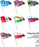 Flag pins 2. This is an illustration of nine flag pins Royalty Free Stock Photos