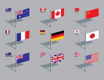 Flag Pins. The flags of Australia, Canada, China, France, Germany, Japan, New Zealand, UK, and USA. Drawn in CMYK and placed on individual layers vector illustration