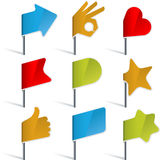 Flag pins. Vector illustration of flag pin set Royalty Free Stock Photo