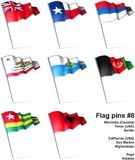 Flag pins #8. This is an illustration of nine flag pins Stock Image