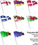 Flag pins #9. This is an illustration of nine flag pins Royalty Free Stock Photography