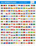 Flag Pins - All World Vector royalty free illustration