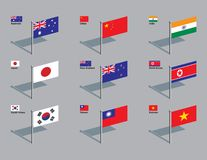 Flag Pins - Asia, Pacific. The flags of Australia, China, India, Japan, New Zealand, North Korea, South Korea, Taiwan, and Vietnam. Drawn in CMYK and placed on stock illustration