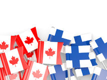 Flag pins of Canada and Finland  on white. 3D illustration Royalty Free Stock Photos