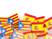 Flag pins of Catalonia and Spain isolated on white. 3D illustration Stock Photos