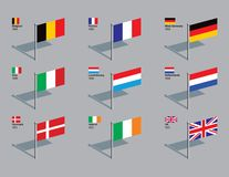 Flag Pins - EU 1958 - 1973 royalty free illustration