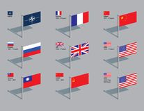 Flag Pins - NATO and UN Security Council stock images
