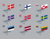 Flag Pins - Nordic, Baltic Stock Photos