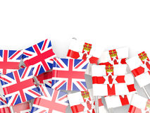Flag pins of United Kingdom and Northern Ireland isolated on whi Stock Photos
