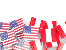 Flag pins of USA and Peru  on white Stock Photo