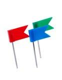 Flag pins on white. Stock Photo