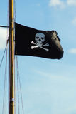 Flag of a Pirate skull and crossbones. Pirate ship flag of the Skull and Crossbones Royalty Free Stock Photo