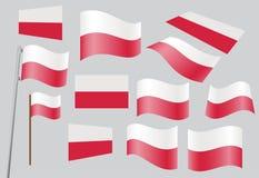 Flag of Poland. Set of Polish flags vector illustration Royalty Free Stock Image