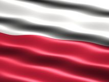 Flag of Poland. Computer generated illustration of the flag of Poland with silky appearance and waves stock illustration