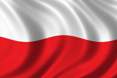 Flag of Poland. Waving in the wind Royalty Free Stock Image