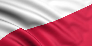 Flag Of Poland. 3d rendered and waving flag of poland Stock Images