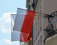 Flag of Poland on a Balcony stock images
