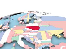 Flag of Poland on bright globe. Poland on political globe with embedded flags. 3D illustration Stock Photography