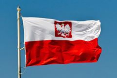 Flag of Poland. Close up.nature Stock Photo