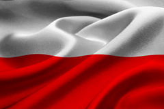 Flag of Poland. Close up of Poland flag waving in the wind Royalty Free Stock Photos