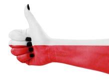 Flag of Poland. On female's hand Stock Photos