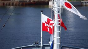 Flag of Poland Navy. On warship stock video