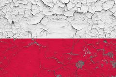Flag of Poland painted on cracked dirty wall. National pattern on vintage style surface.  vector illustration