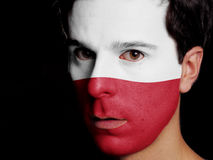 Flag of Poland. Painted on a Face of a Young Man Royalty Free Stock Photos