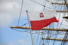 Flag of Poland - sail ship Royalty Free Stock Image