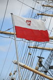 Flag of Poland - sail ship Stock Photography