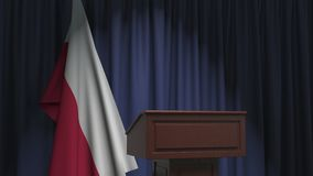 Flag of Poland and speaker podium tribune. Political event or statement related conceptual 3D animation