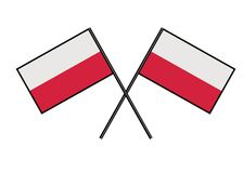 Flag of Poland. Stylization of national banner. Simple vector illustration with two flags. Stock Photography