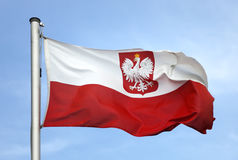 Flag of Poland. In the sun stock photo