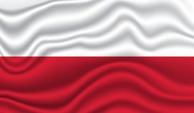 Flag of Poland. Wavy and realistic Flag of poland isolated in white. realistic fabric effect Royalty Free Stock Photography