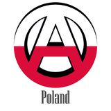 Flag of Poland of the world in the form of a sign of anarchy stock illustration