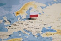 The Flag of poland in the world map.  royalty free stock photos