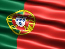 Flag of Portugal. Computer generated illustration of the flag of Portugal with silky appearance and waves Stock Photos