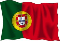 Flag of Portugal. Waving flag of Portugal isolated on white