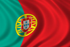 Flag of Portugal. Waving in the wind Stock Image