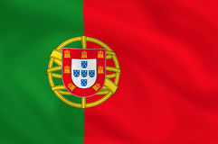 Flag of Portugal. Portuguese waving flag (background or wallpaper Stock Photography