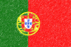 Flag of Portugal background o texture, color pencil effect. Stock Photography