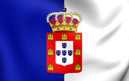 Flag of Portugal 1830-1910. 3D Flag of the Portugal 1830-1910. Close Up Royalty Free Stock Photo