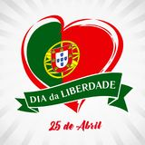 Liberty Day Portugal, heart emblem in national flag colored. Flag of Portugal with heart shape for Portugal Liberty Day 25 April on white beams background vector illustration